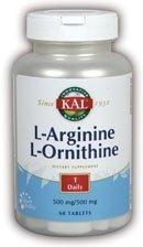 L-Arginine & L-Ornithine 500/500mg Kal 50 Tabs by Kal