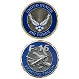 United States US Air Force Military F-16 Fighting Falcon Plane - Good Luck Double Sided Collectible Challenge Coin