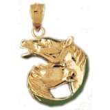 CleverEve 14K Yellow Gold Dual Horse Heads Pendant 3.3 Grams