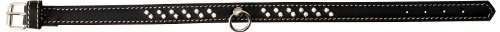 Petego La Cinopelca Flat Calfskin Collar with Crystals, Black, X-Small, 1/2-Inch by 9-Inch