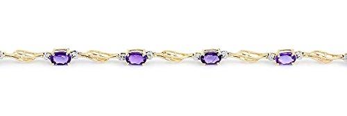 QP joailliers naturel & Diamant Améthyste Bracelet en or 9carats, 2.95CT Coupe ovale-1513y
