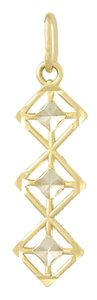 14k Yellow Gold Small Diamond Shapes with White Diamond-cut Accents Drop Pendant by Million Charms