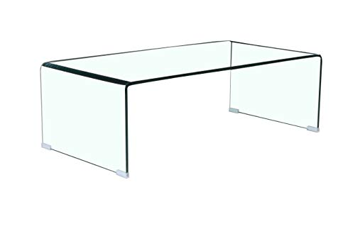 FENGHUA GLASS HOME Coffee Table Thick Tempered Glass Living Room Table Accent Furniture with 15 Year Warranty Bent Table Clear