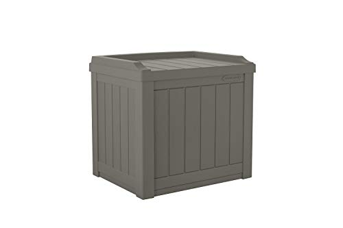 Suncast 22-Gallon Small Deck Box - Lightweight Resin Indoor/Outdoor Storage Container and Seat for Patio Cushions, Gardening Tools and Toys - Store Items on Patio, Garage, Yard - Stone Gray (Stones Patio Outdoor)
