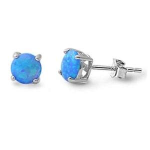 Jewelry Accessories Key Chain Bracelet Necklace Pendants Round Blue Opal Stud 925 Sterling Silver Earrings