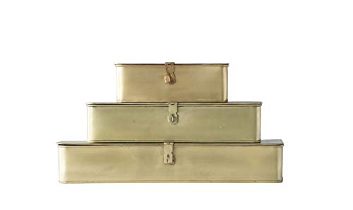 (Creative Co-Op Decorative Metal Boxes with Gold Finish (Set of 3 Sizes) )