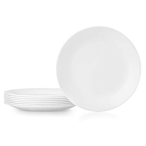 Corelle 1135857 Dinner Plates, 8-Piece, Winter Frost White (Dinnerware Corelle White French)