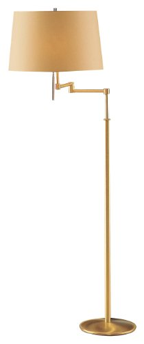 Holtkoetter 2541 BB KPRG Incandescent Swing Arm Floor Lamp, Brushed Brass with Kupfer Shade, 61