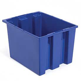 Quantum Stack And Nest Tote Box - 19-1/2 X15-1/2 X10'' - Blue - Blue - Lot of 6 by Quantum