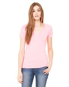 Jersey Womens Pink T-shirt - Bella 6035 Womens Jersey Short Sleeve Deep V-Neck Tee - Neon Pink, Extra Large