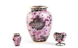 - Hand Crafted Cloisonne Floral Blush Elite Memorial Urn - Keepsake - Includes FREE Liberty Microfiber Cloth
