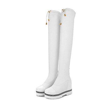 RTRY Zapatos De Mujer Moda Otoño Invierno Pu Confort Talón De Cuña Botas Botas Botas Altas De Rodilla Toe Redonda Cremallera Para Parte &Amp; Traje De Noche Blanco Y Negro US5 / EU35 / UK3 / CN34