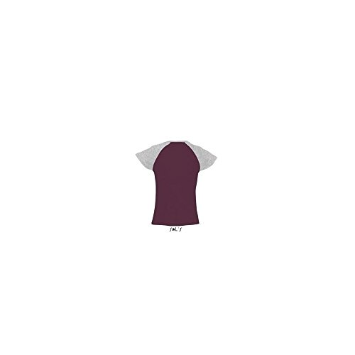 Women´s Raglan Colour-T Milky - Farbe: Burgundy/Grey Melange - Größe: L