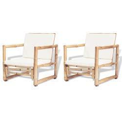 vidaXL 2X Sillas de Jardín Bambú 60x65x72 cm Sillón de ...