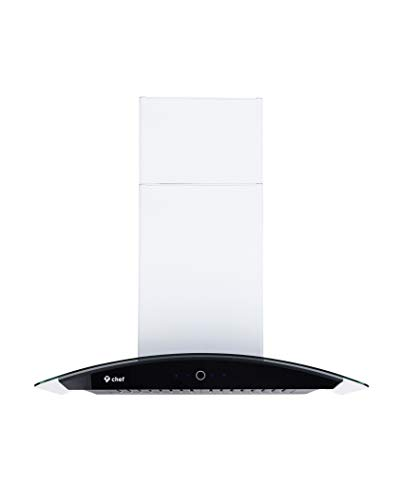 Chef WM-639 Wall Mounted Range Hood Tempered Glass and Stainless Steel | Contemporary Design w/ 900 CFM | Dishwasher Safe Baffle Filters, 3 Speed Settings, Touch Control Panel (30)