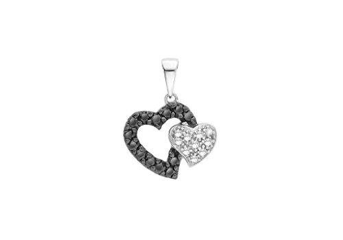 Or blanc 9carats Diamant 0,25ct Noir et Blanc Pendentif double cœur