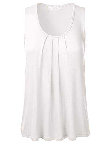FLORIA Womens Round Neck Pleated Front Sleeveless Stretchy Blouse Tank Top Ivory ()