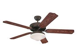 Roman Bronze Ceiling Fan Light (Monte Carlo 5WF52RBD-L, Weatherford Deluxe Outdoor Ceiling Fan with Light, 52'', Roman Bronze)