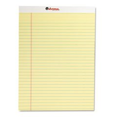 Universal 10630 Perforated Edge Writing Pad Legal/Margin Rule Letter Canary 50-Sh Pack of 12