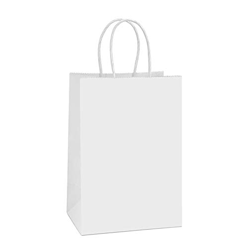 BagDream Kraft Paper Bags 100Pcs 5.25x3.75x8 Inches Small Paper Gift Bags with Handles Party Bags Shopping Bags Kraft Bags White Paper Bags Bulk 100% Recyclable Paper -