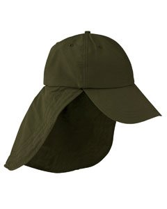 Adams Cap 6-Panel Baseball Cap with Elongated Bill and Neck Cape EOM101 green One Size