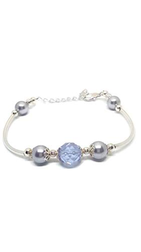 Adjustable Bracelet with Lavender Swarovski Pearls and Czech Fire Polished Crystal.