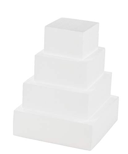 Juvale Square Cake Dummy - 4-Piece Polystyrene Foam Dummy Cake, Fake Foam Wedding Cake, for Wedding Display Window, Decorating Competition, 6, 8, 10, 12 Inches Square, Total 16 Inches Tall