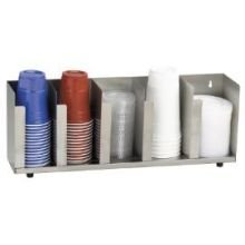 Dispense-Rite CTLD-22 Five Section Stainless Steel Cup and Lid Organizer