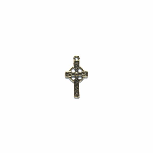 Pewter Cross Charms (Shipwreck Beads Pewter Celtic Cross Charm, Metallic, Antique Gold, 15 by 22mm, 4-Piece)
