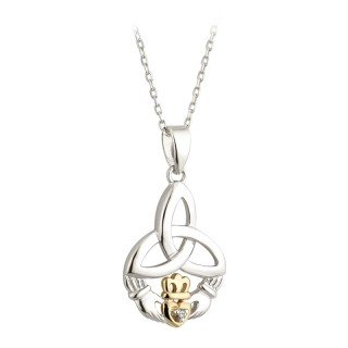 - 10K Gold Claddagh Pendant Trinity Knot Necklace Sterling Silver Made in Ireland