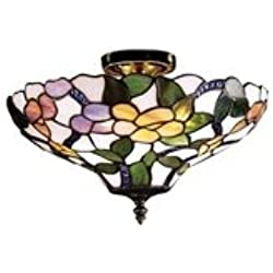 Dale Tiffany 7966/3LTF Peony Semi-Flush Mount Light, Antique Brass and Art Glass Shade
