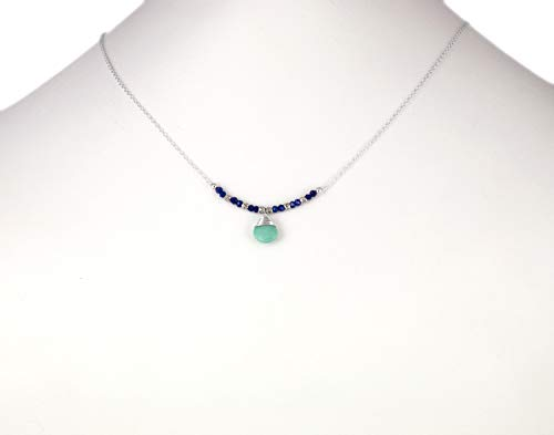 Silver Turquoise Pendant Blue Lapis Lazuli and Fine Silver Beaded Bar Necklace 16