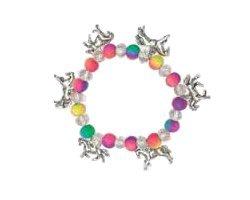 Neon Bettelarmband - Schönes Neonperlen Armband Mit silber farbigen Pferde anhänger - Ideale geschenk Idee für freunde oder familie