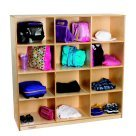 Childcraft 1448794 Mobile Storage Locker with 12-Cubby, Wood, 47-3/4'' x 15'' x 48'', Natural Wood Tone
