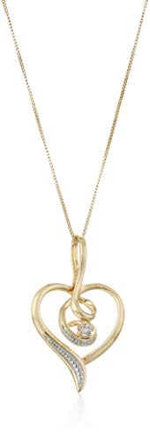 Espira 10K Yellow Gold Diamond Swirl Heart Pendant Necklace (0.03 cttw, J-K Color, I2-I3 Clarity)