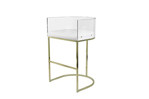 Bombay D2024CS0015 LULU Counter Stool, 31 Inches High, Clear, White, Gold (Stools Luxury Bar)