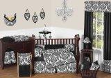 Sweet Jojo Designs 9-Piece Designer Black and White Damask Isabella Baby Girls Bedding Crib Set