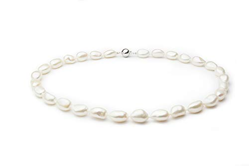 - Drop White 10-11mm Single Strand Baroque Quality Freshwater 925 Sterling Silver Cultured Pearl Necklace-51 in Rope length