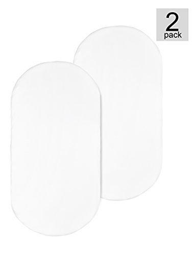Premium Bamboo Bassinet Sheet 2 Pack, Designed for Delta Children Sweet Beginnings Bassinet, Extremely Soft & Breathable,White