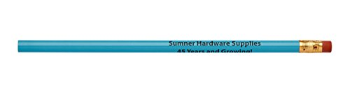 Pencil Guy Promotional Personalized Imprinted Round Pencils Light Blue 144 to a Box]()