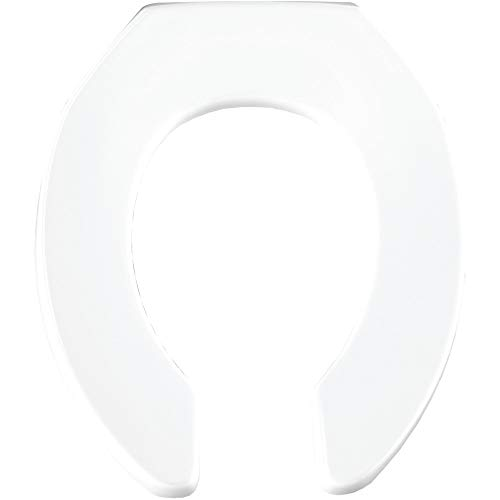 BEMIS 955SSCT 000 Commercial Heavy Duty Open Front Toilet Seat without Cover will Never Loosen & Reduce Call-backs, ROUND, Plastic, White Bemis Round Open Front