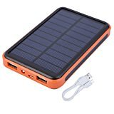 Solar Charger,20000 mAh Dual USB Port Solar Power Bank Portable External Battery Pack Waterproof with LED Flash Light Fast Charging for Cell Phones ,iPhone ,iPad,Tablets ,USB Devices