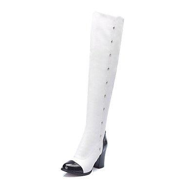 Boots nero Chunky Bianco cavallo Scarpe Round kekafu bianco da dress donna Toe stivali tacco PzHx6w