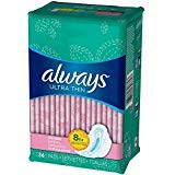 Always Ultra Thin Pads Slender Flexi-Wings 36 Each (Pack of 12)