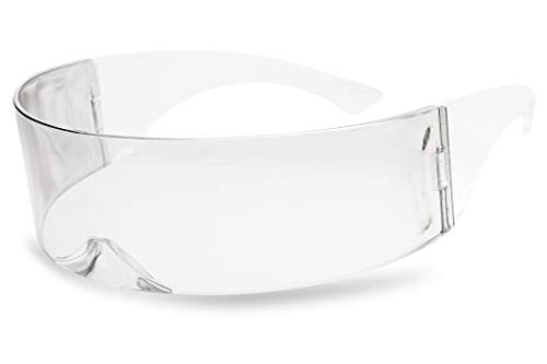 SunglassUP - One Piece Futuristic Wrap Around Novelty Cyclops Robocop Sunglasses (Clear),One Size ()