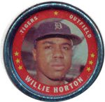 1971 Topps Topps Coins (Baseball) Card# 130 Willie Horton of the Detroit Tigers ExMt Condition