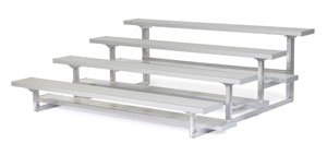All Star Bleachers, Four Row Aluminum Bleachers, Bleacher4-15, Width (Ft): 15 Ft, Seats: 40, Weight-Lbs: 440, 6A4S15