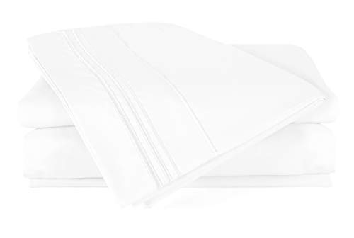 - 4 Piece Bed Sheet Set (Full-Whie) - Velvety Brushed Microfiber 1800 Bedding Set- Wrinkle, Fade, Stain Resistant - Hypoallergenic - by Duck & Goose CO.