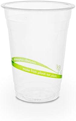 50 x Vasos desechables para bebidas frías | Vajillas ecológicas de un sólo uso | Vaso 100% compostable y biodegradable | estable y claro | Copas de ...