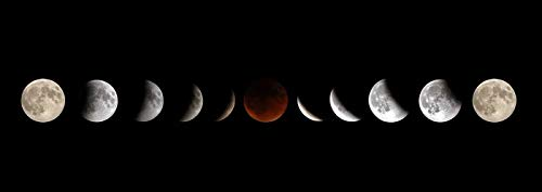 Full Moon Lunar Eclipse Phases Photography A-90395 (12x18 Art Print, Wall Decor Travel Poster)